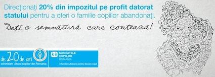 Doneaza 20% din impozitul pe profit in beneficiul SOS Satele Copiilor, care, de 20 de ani, schimba viitorul copiilor din Romania!